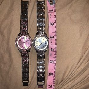 Accessories - 2 BEAUTIFUL WATCHES ONE PINK AND ONE CLEAR STONES